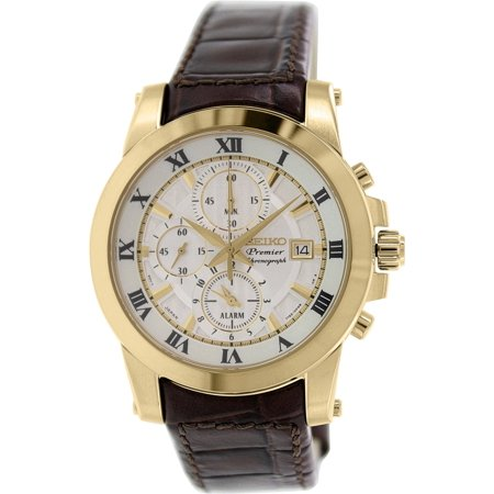 Seiko Premier Gold-Tone Brown Leather Mens Watch SNAF30 by