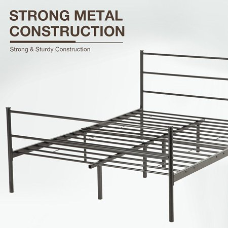 180cb3eb3a89 Mecor Metal Bed Frame Platform With Headboard Footboard 10 Legs Furniture  Black,Multiple Sizes - Walmart.com