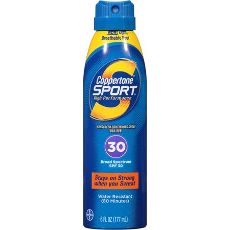 Bayer Coppertone Sport Sunscreen Continuous Spray UVA/UVB Broad Spectrum SPF 30, 6 Fl