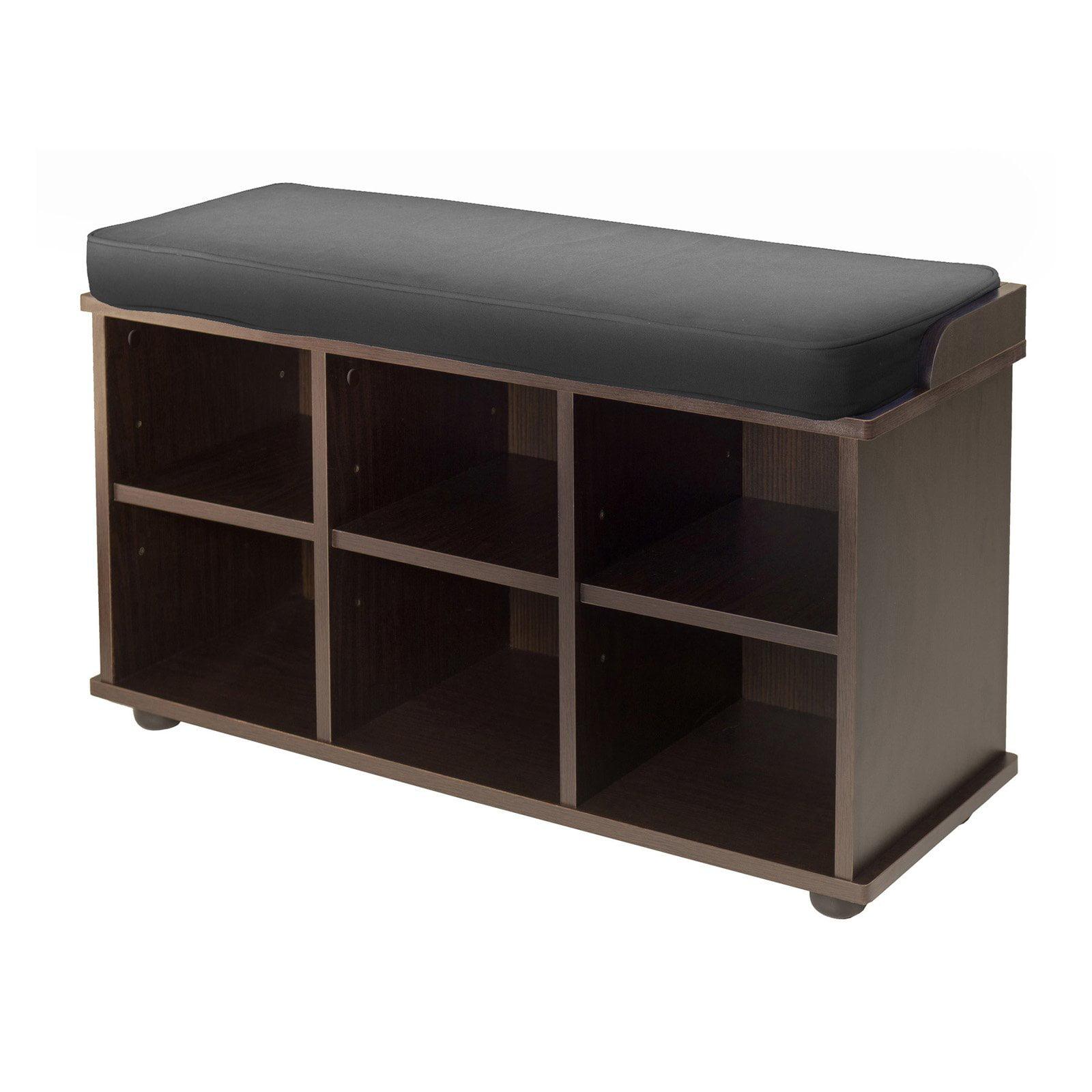Winsome Wood Townsend Storage Bench Seat Cushion Black Espresso Walmart Com Walmart Com
