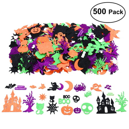 UNOMOR 500 PCS Halloween Foam Stickers Cat Pumpkin Ghost Glitter Stickers - Halloween Pumpkin Decorating Stickers