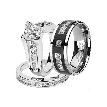 Hers and His Stainless Steel Princess Wedding Ring Set & Titanium Wedding Band Women's Size 10 Men's Size 12