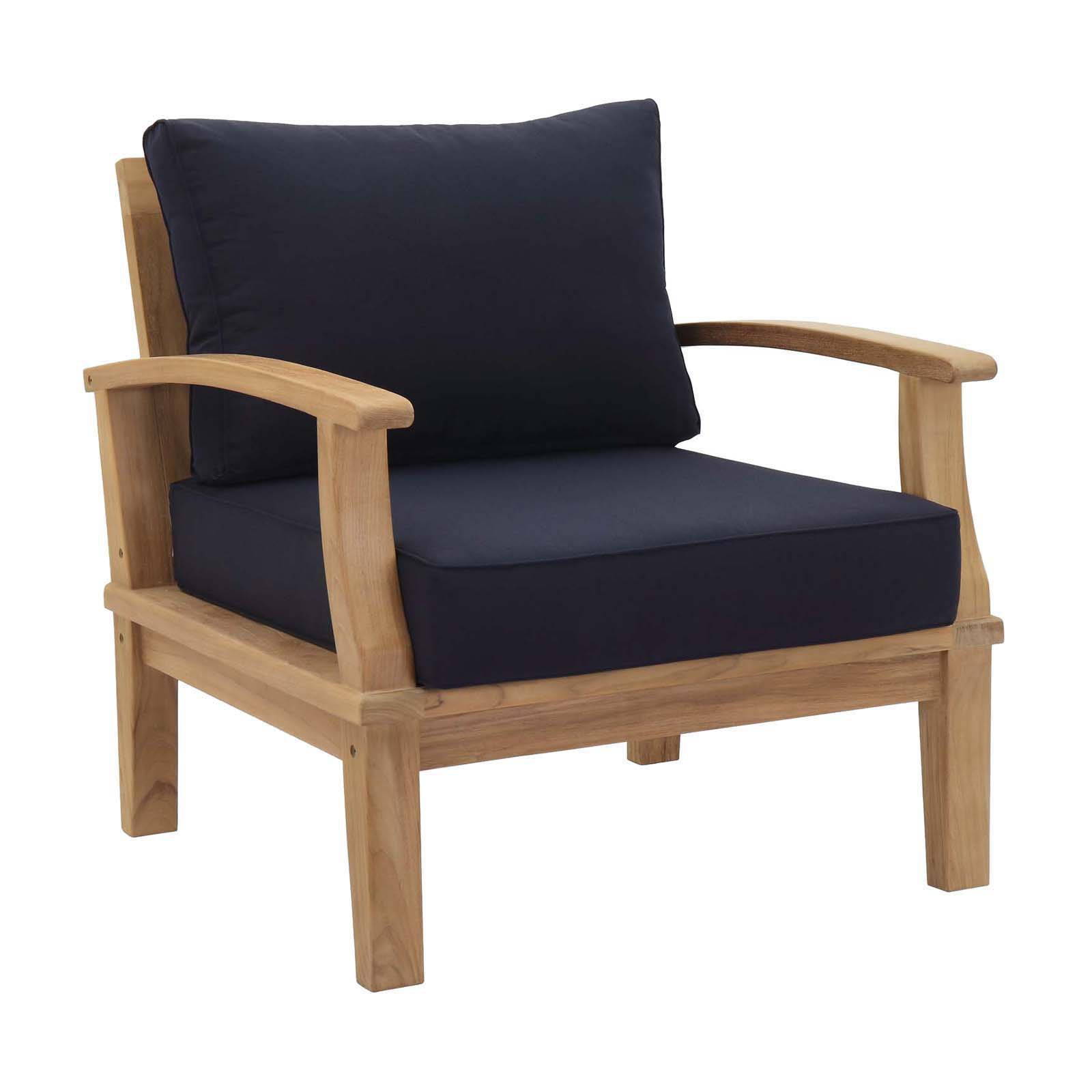 Modway Marina Outdoor Patio Teak Armchair in Natural White