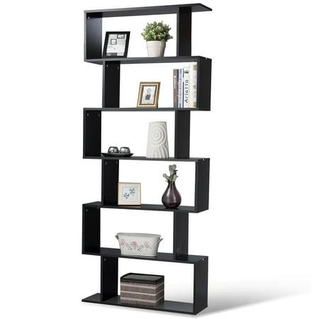 Gymax 6 Tier S-Shaped Bookcase Z-Shelf Style Storage Display Modern Bookshelf Black ()