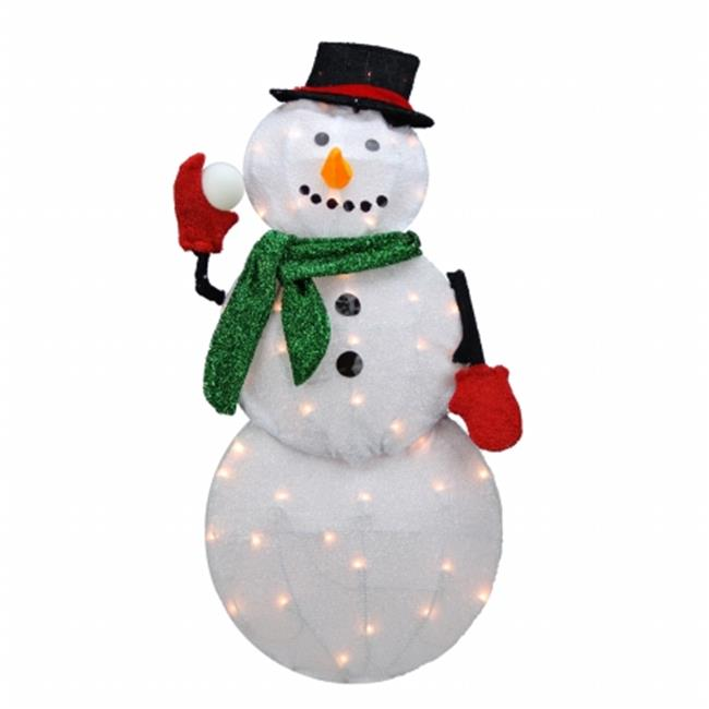 Northlight Seasonal 31742623 Pre-Lit Candy Cane Lane D Winter Snowman Christmas Yard Art Decoration - Clear Lights