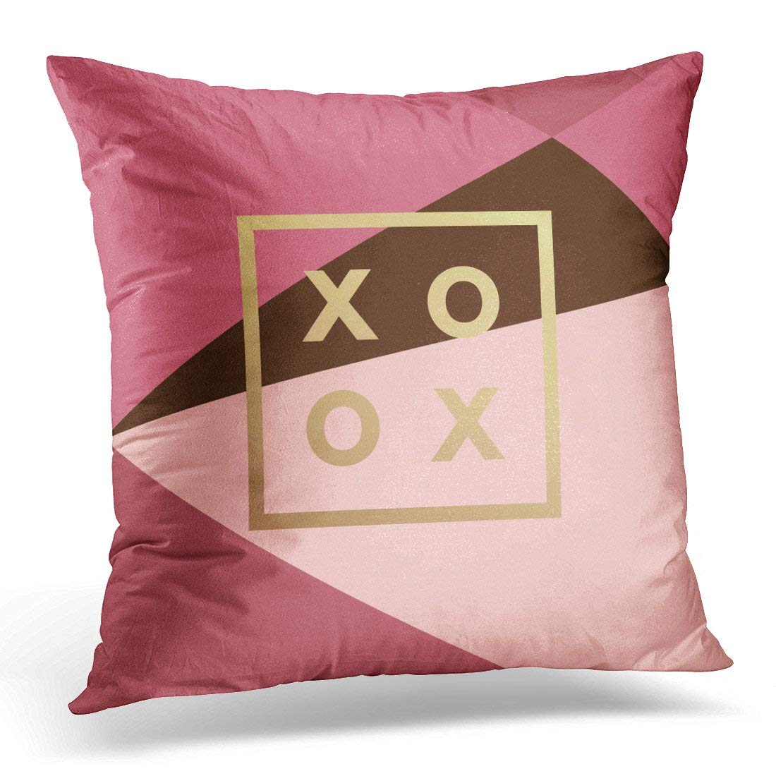 USART Luxury Romantic Love XOXO Gold Minimal in on Geometric Vintage Modern Label Outline Trend Valentine Day Pillow Case Pillow Cover 18x18 inch