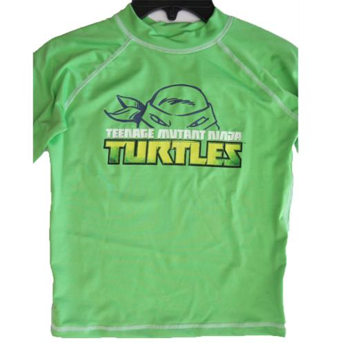 Ninja Turtle Little Boys Lime Green Stretchy Printed Swim Wear T-Shirt 6-7