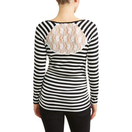 Maternity Striped Scoop Neck Top with Lace Back