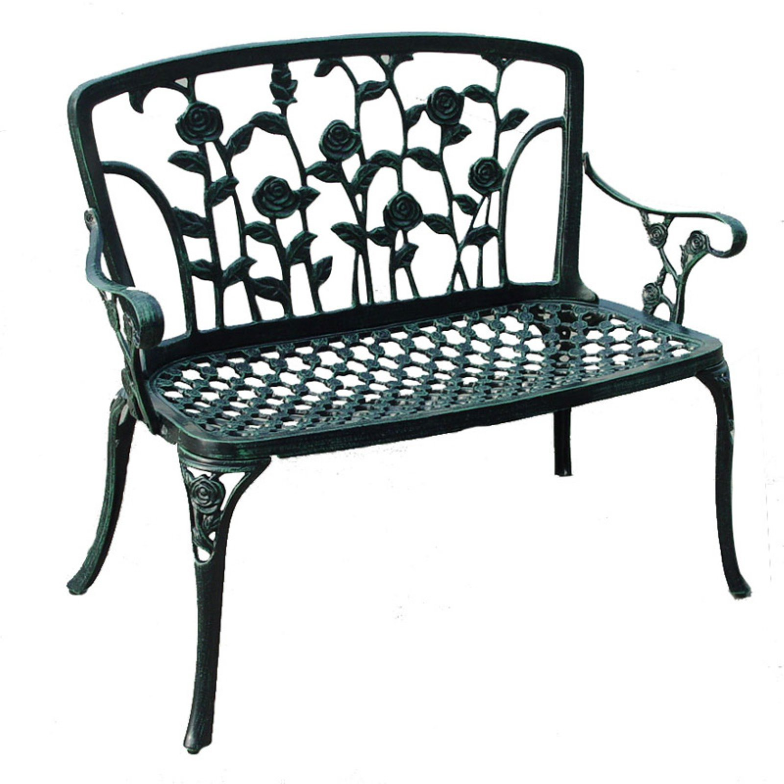Cast Aluminum Antique Green Patio Bench