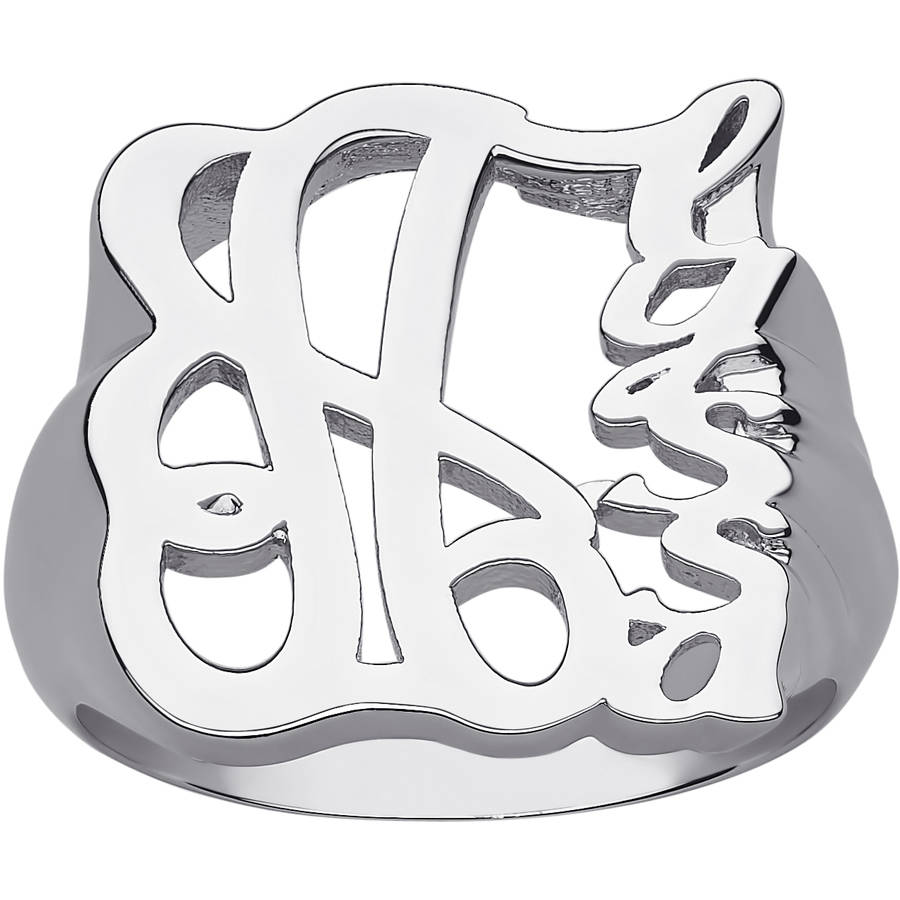 Personalized Women's Sterling Silver Fancy Script Name Ring