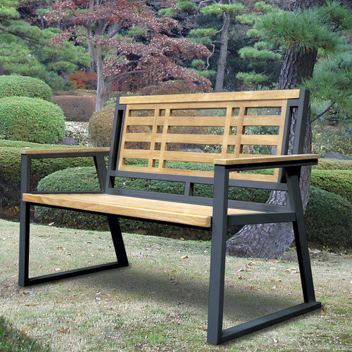 ASTA Home Furnishing California Room Aegean Teak and Iron Park Bench