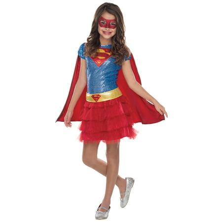Supergirl Girls Sequin Costume - M(7-8)