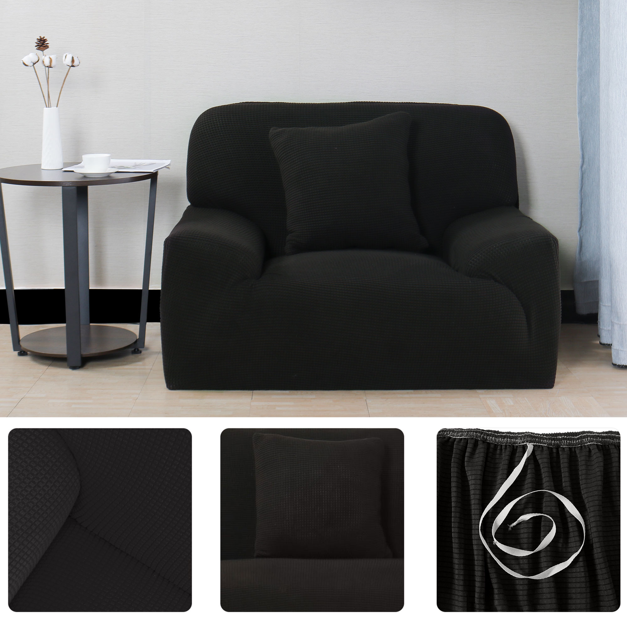"""Jacquard Sofa Covers 1-Piece 1 2 3 4 Seaters Couch Cover Home Furniture Protector #Black 35""""-55"""" - image 4 of 7"""