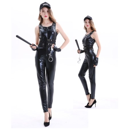 Women's Sexy SWAT Uniform Halloween Costume 5 Piece Outfit Set (M)