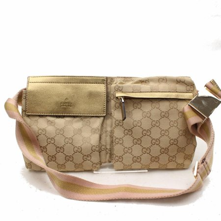 a5cbc6e9854e Gucci - Monogram Sherry Web Pink Fanny Pack Waist Pouch 868389 Gold Canvas  Cross Body Bag - Walmart.com