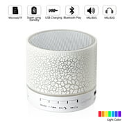 Spencer Mini Wireless Portable Bluetooth Speaker Player With LED and Build-in Mic Support AUX TF for iPhone iPod & Android System Equipment Etc. (White)
