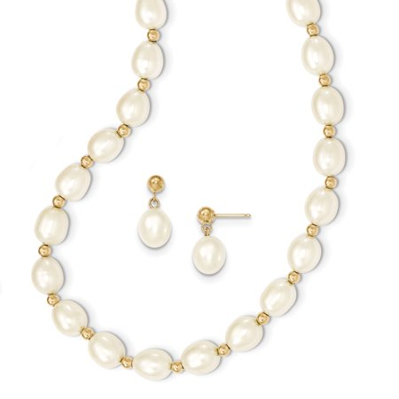 14k Yellow Gold 8mm White Freshwater Cultured Pearl Chain Necklace Bead Post Stud Earrings Set Pendant Charm Drop Dangle For - Pearl Pendant Pearl Set
