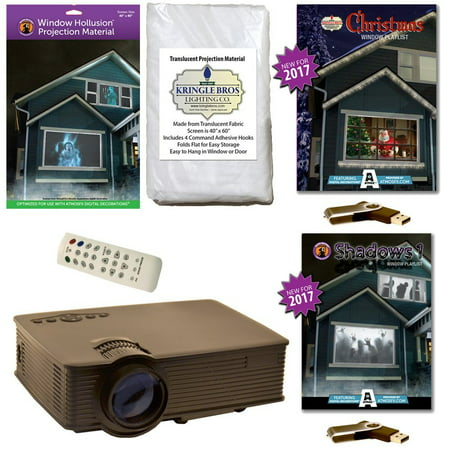 AtmosFearFx Christmas & Halloween Digital Decoration Kit includes 800 x 480 Projector, Hollusion (W) + Kringle Bros Projection Screens, Christmas & Shadows Compilation Videos on USB. - Halloween Shadow Projection