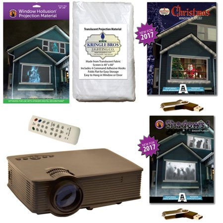 AtmosFearFx Christmas & Halloween Digital Decoration Kit includes 800 x 480 Projector, Hollusion (W) + Kringle Bros Projection Screens, Christmas & Shadows Compilation Videos on USB.