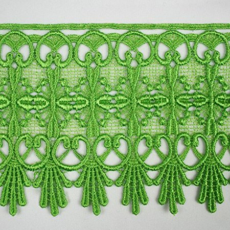 "Kelly Lace - Lime Kelly Green 5/8""~5-1/8"" Embroidered Floral Venice Lace Trim Guipure By Yard (17823 (4.75"