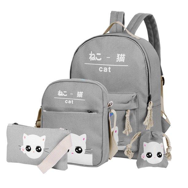 Vbiger Vbiger Canvas Kids Backpack Set 4pcs Casual Kitty School Bag For Teenage Girls Gray Walmart Com Walmart Com