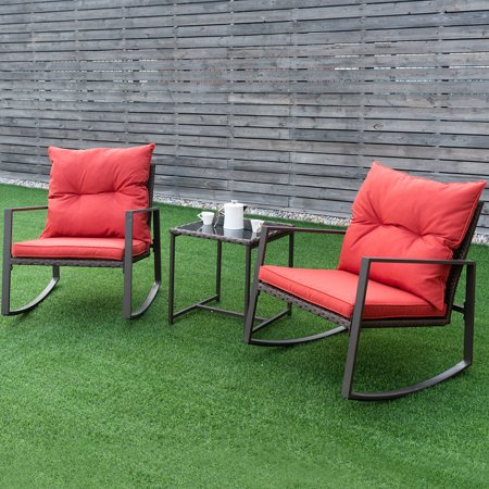 Costway 3-Piece Patio Wicker Bistro Furniture Set w/ 2 Rocking Chairs, Glass Side Table, Cushions Red/Beige