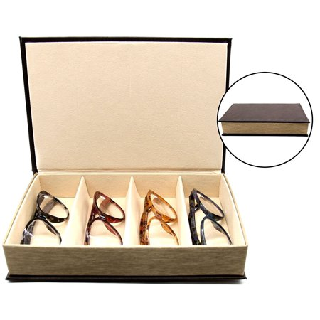 a5ec8feff 4 Slot Glasses Tray - Multiple Compartment Eyeglasses Organizer Storage and Display  Case - Faux Leather - Elegant Book Design - Brown - by OptiPlix ...