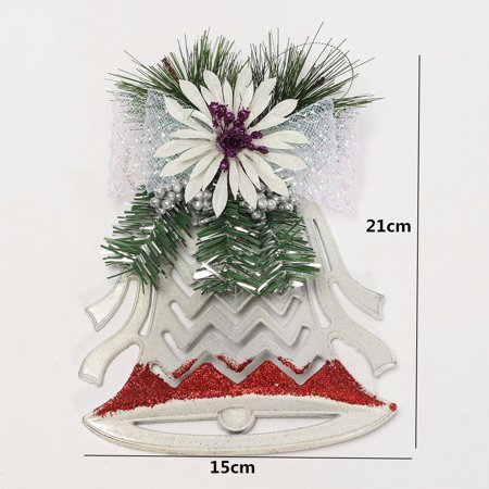 Christmas Xmas Tree Ornaments Decor Plastic White Hollow Flat Bell Pendant New - image 1 of 5