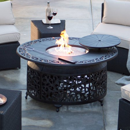 Red Ember San Miguel Cast Aluminum 48 In  Round Gas Fire Pit Chat Table