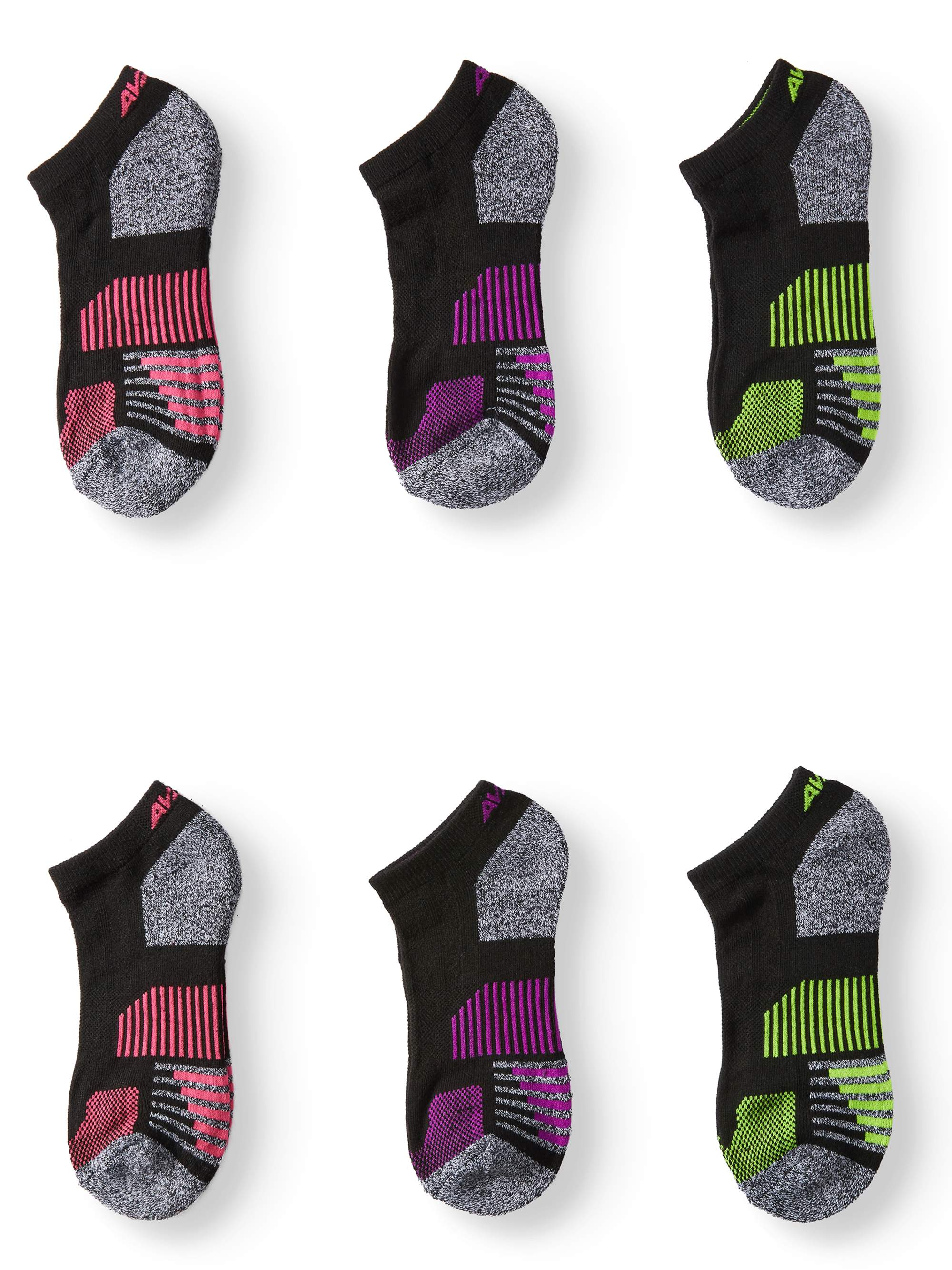 AVIA Ladies Pro-Tech No Show Socks, 6 Pack