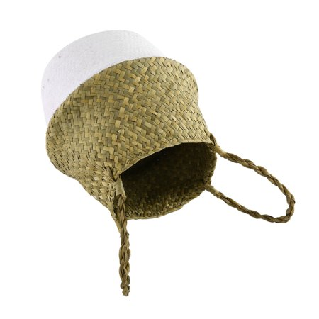 Foldable Seagrass Woven Storage Pot Handmade Flower Hanging Basket With Handle - image 8 of 8