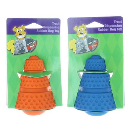Set of 2 Pet Knight Rubber Dog Toys Treat Dispensing Cone Shaped Assorted - Treat Dispensing Rubber