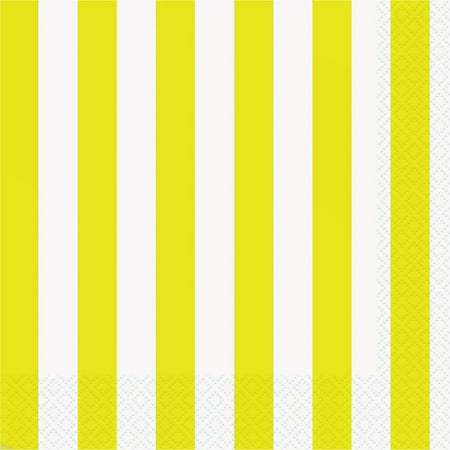 Neon Yellow Party Lunch Napkins, - Yellow Napkins