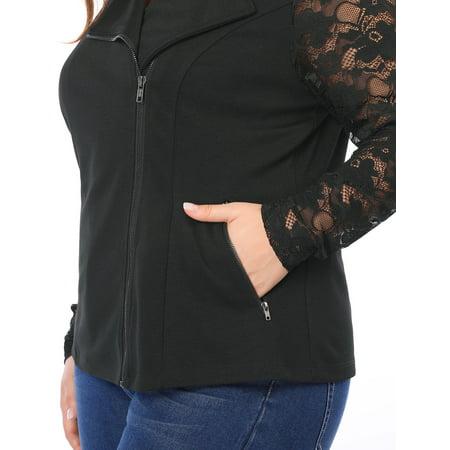 Agnes Orinda Women Plus Size Lace Sleeves Panel Zip Closure Moto Jacket Black 1X - image 5 of 6