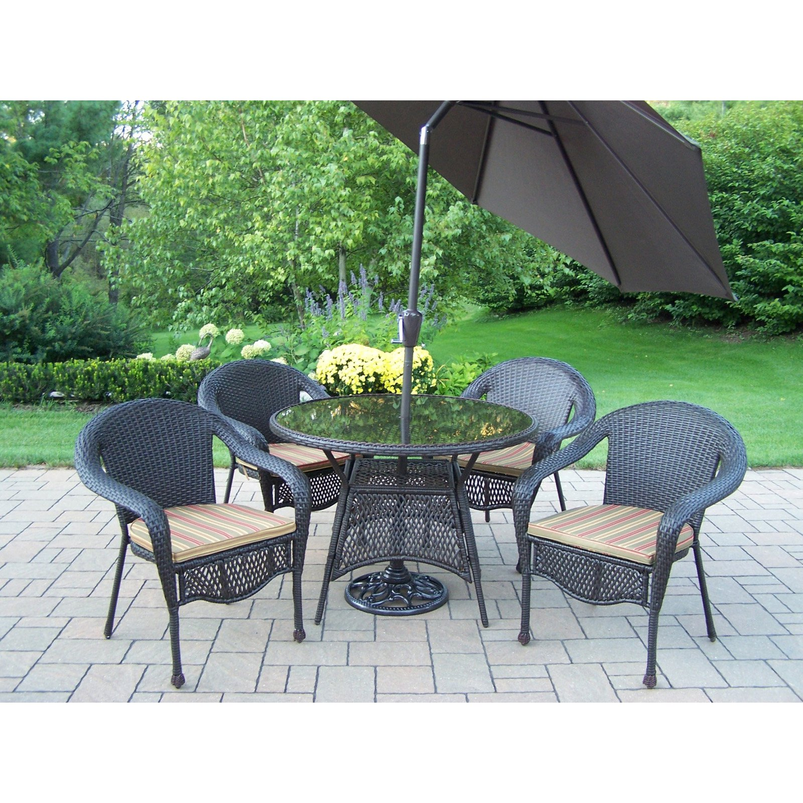 Oakland Living Elite All-Weather Wicker Patio Dining Set with Tilting Umbrella and Stand