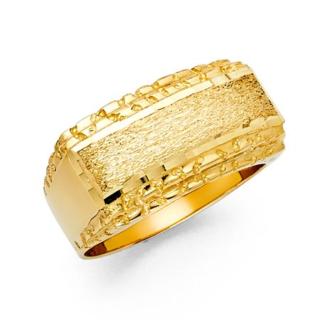 Large Nugget Ring Solid 14k Yellow Gold Band Diamond Cut Polished Sand Finish Fancy Men 12MM