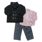 Only Kids Infant Boys 3 Outfit Gray Cord Pants Red Plaid Shirt & Black Peacoat