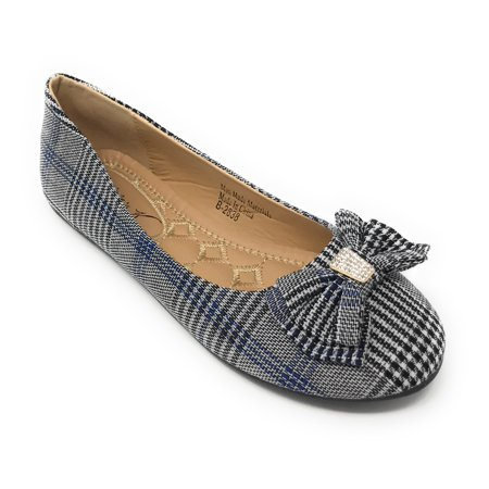 Victoria K Women's Glen Plaid Matching Bow With Rhinestone Ballerina Flats