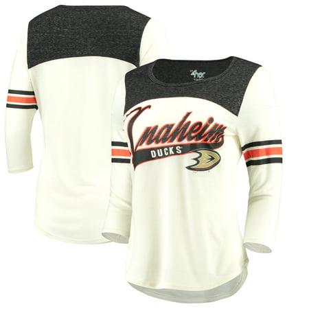 buy online 95174 20278 Anaheim Ducks G-III 4Her by Carl Banks Women's Endzone 3/4-Length Sleeve  T-Shirt - Cream/Black