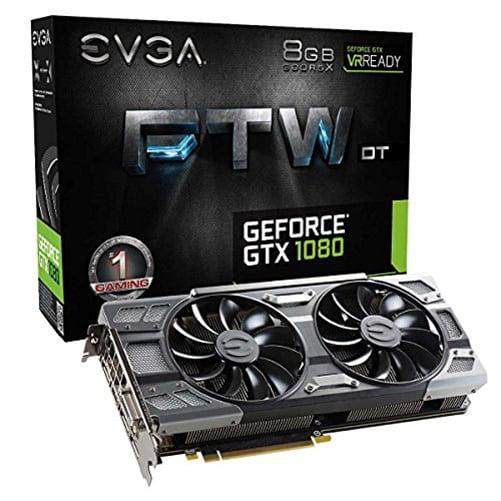 EVGA GeForce GTX 1080 FTW DT GAMING ACX 3.0, w/ Adjustable RGB LED Graphics Card 08G-P4-6284-KR - 08G-P4-6284-KR
