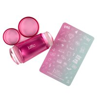 BMC Clear Dual Silicone Nail Stamping Heads w/Pink Tinted Handle - Glass Stamper
