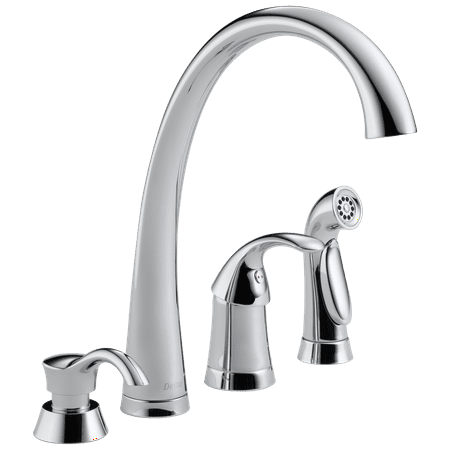 Pilar Single Handle Kitchen Faucet with Spray and Soap Dispenser in Chrome 4380-SD-DST ()