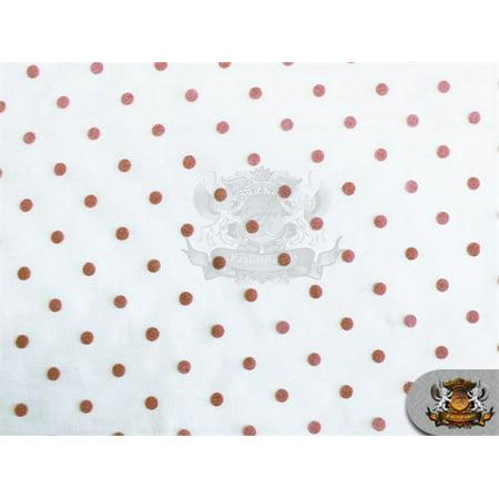 Organza Velvet Flock Polka Dots Fabric Ivory Rose / 60