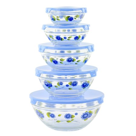 Blue Flowers Glass Bowls Set of 5