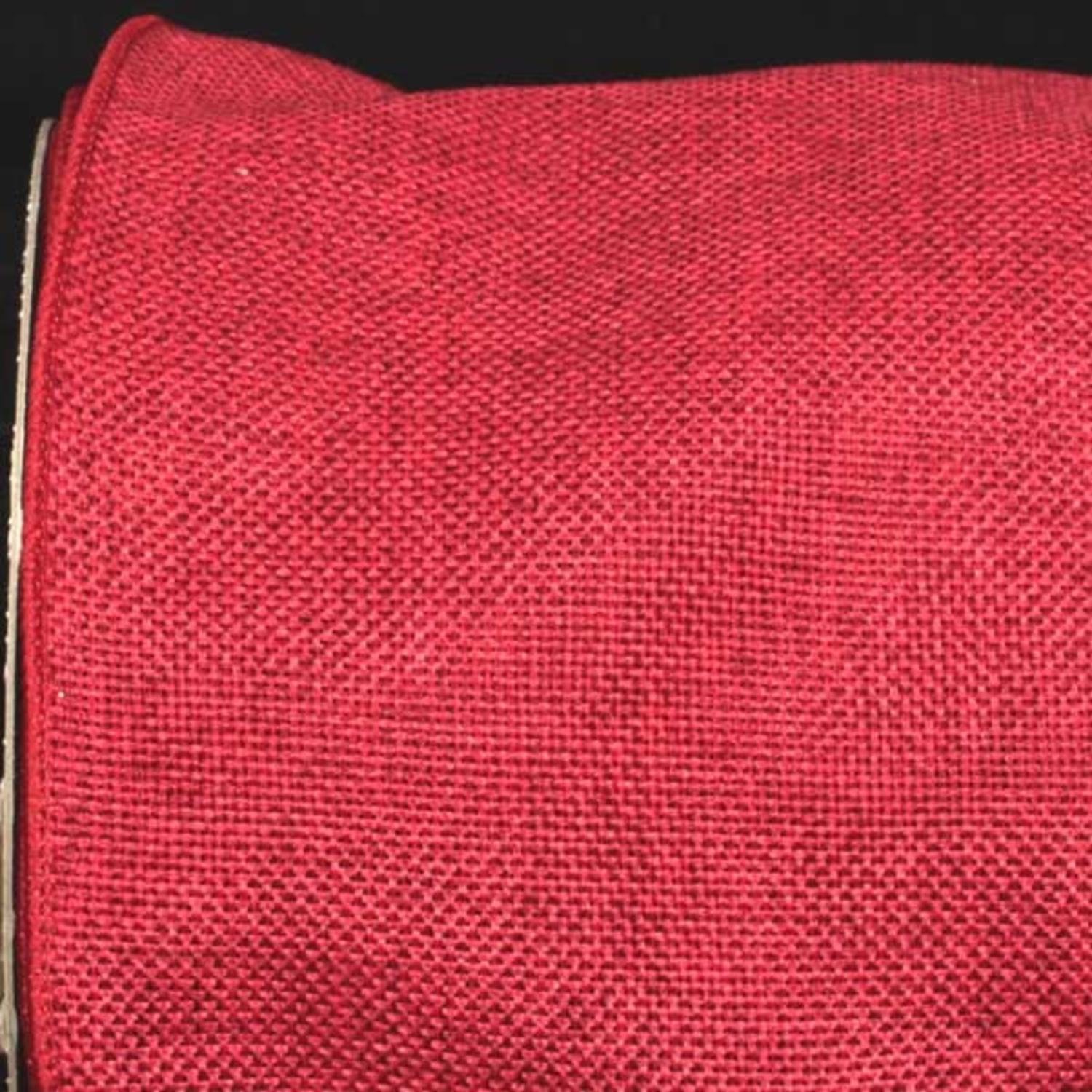 "Scarlet Red Wired Fine Burlap Craft Ribbon 6"" x 20 Yards"
