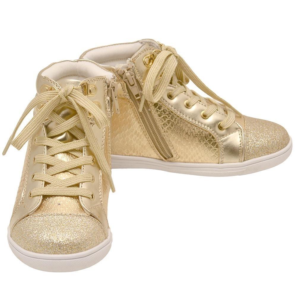 Rachel Shoes Girls Gold Glitter Side