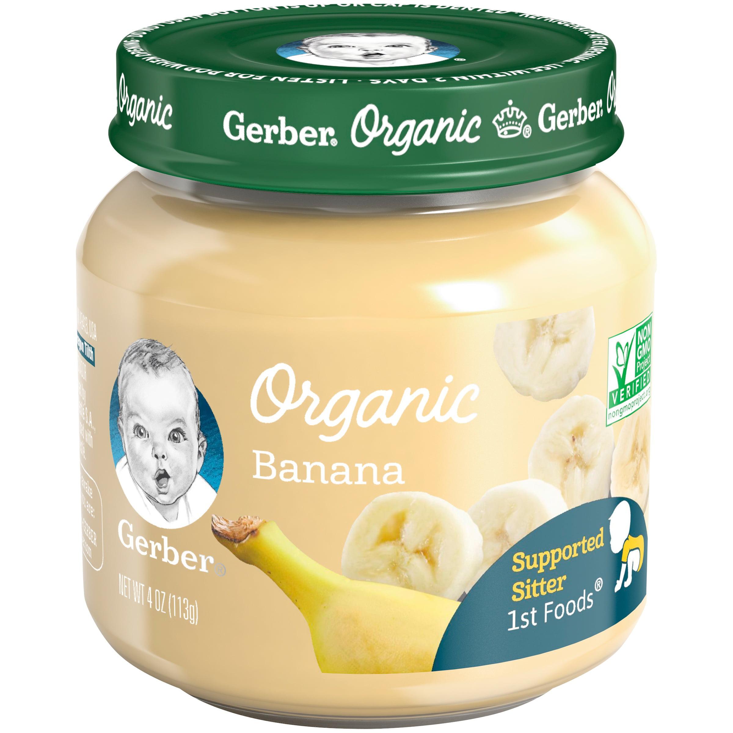 Gerber Organic 1st Foods Banana Baby Food, 4 oz. Glass Jar (Pack of 6)