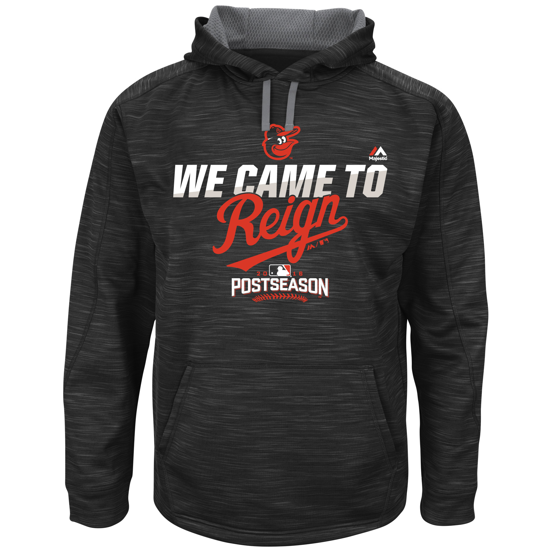 "Baltimore Orioles MLB Majestic Men's Black On-Field Therma Base ""We Came To Reign"" Hoodie by MAJESTIC LSG"