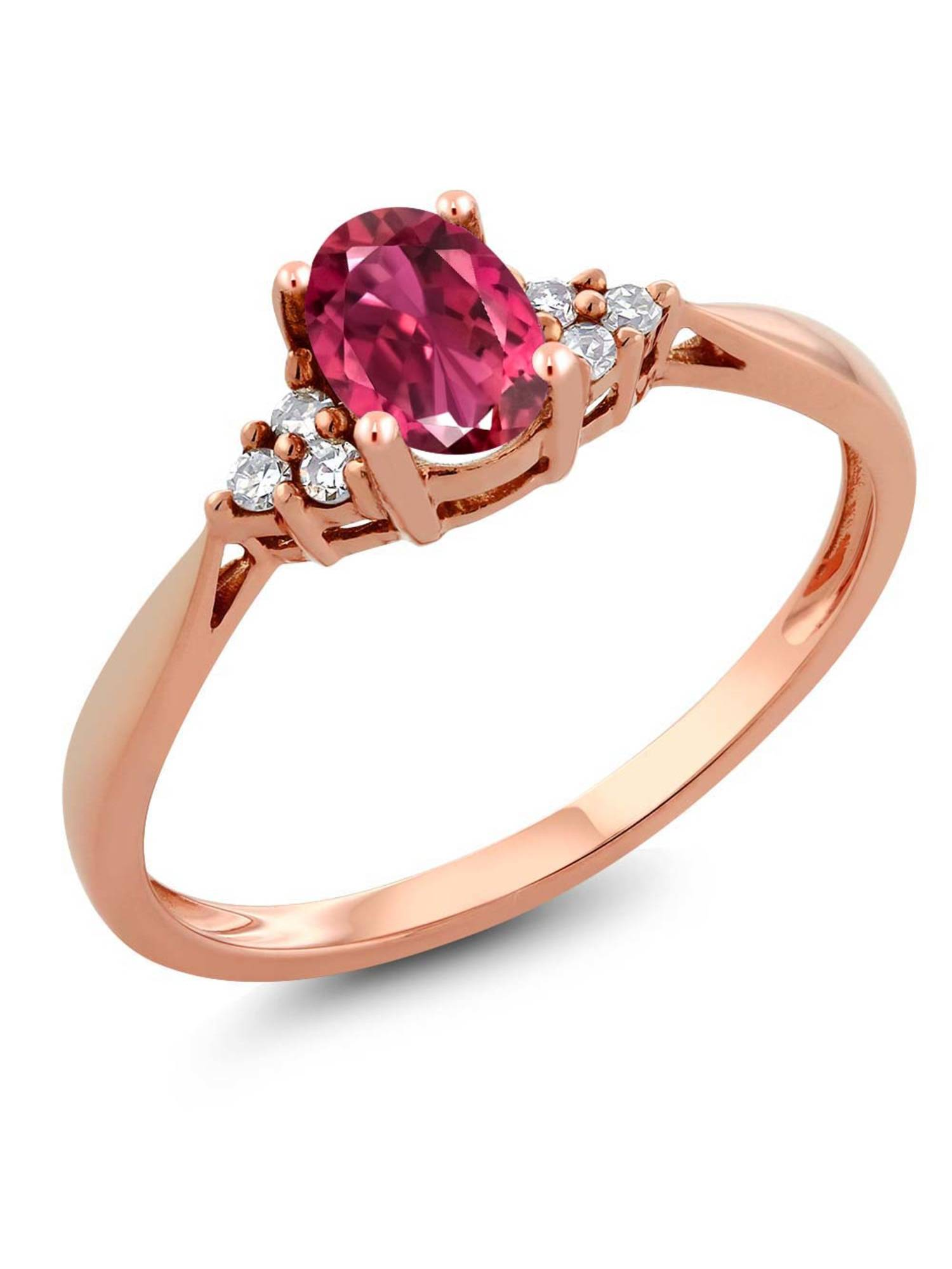 Women's 14K Rose Gold Pink Tourmaline and Diamond Ring by
