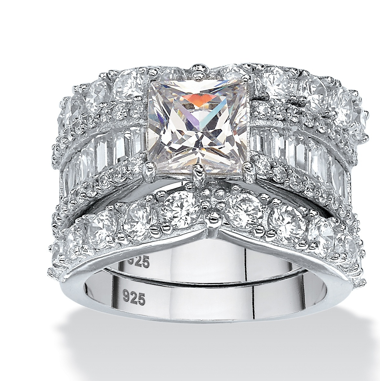 6.18 TCW Princess-Cut Cubic Zirconia Three-Piece Bridal Ring Set in Platinum over Sterling Silver by PalmBeach Jewelry